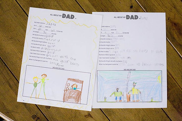 """A free Father's Day printable for you from All for the Boys: """"All About Dad."""" Print out, have your kids fill out (or you fill in their answers) including a drawing and you have a fun gift and keepsake"""