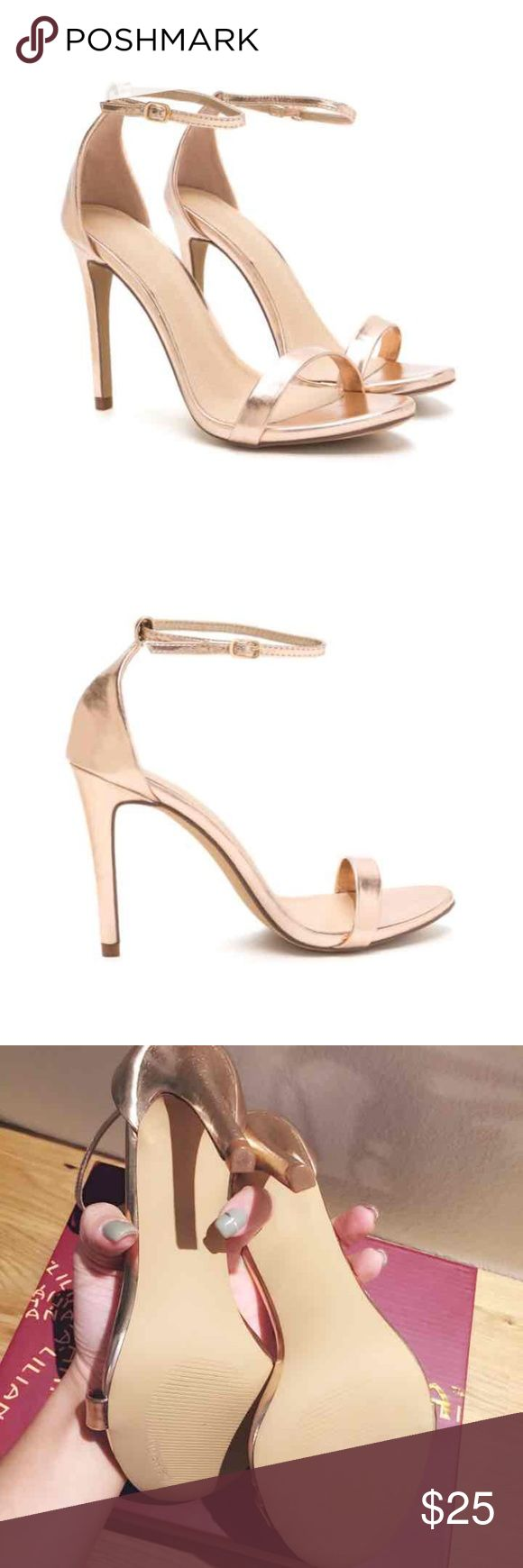 BRAND NEW! Rose gold high heels Pretty rose gold ankle strap heels.  Perfect for summer dresses! Shoes Heels