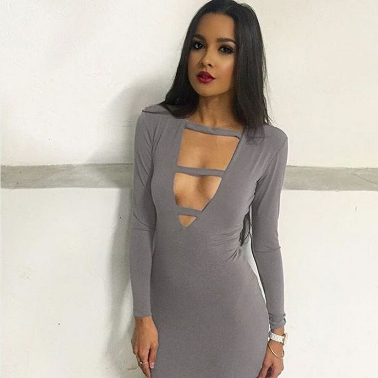 Stretchy Cotton Women Clothing Party Long Sleeve Sexy Club Bandage Bodycon Dresses