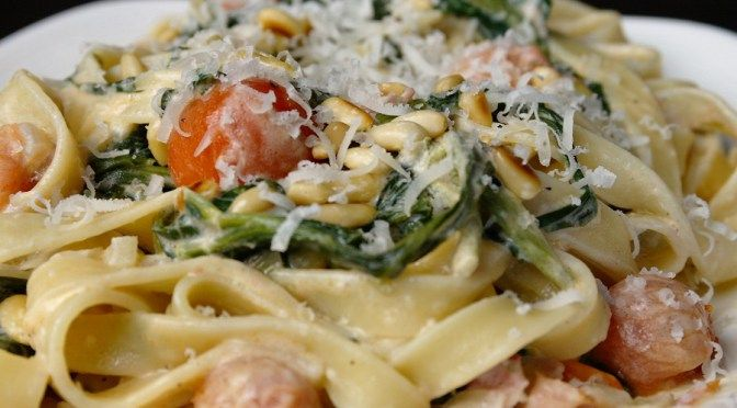 Tagliatelle met boursin en spinazie 1