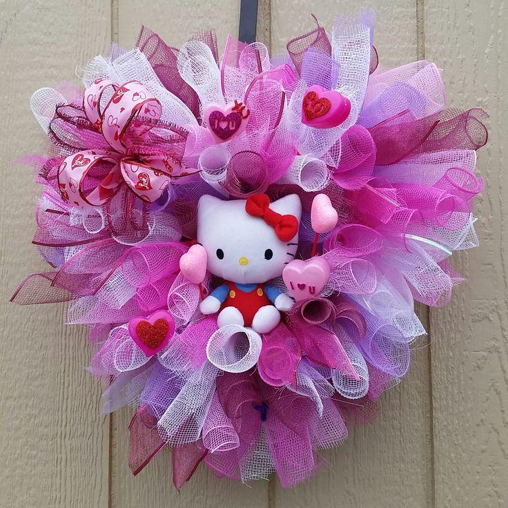 Hello Kitty Home Decor: Valentines Day Hello Kitty Wreath Home Office Decor Hello