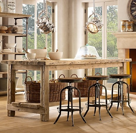 kitchen island/ eating area...hmmm I could make it bar height and save a ton of money on island cabinetry, with storage in baskets underneath.