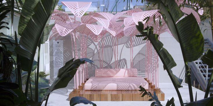 Marc Ange // Le Refuge // Milan 2017 #design #pink #botanical #daybed #daydream