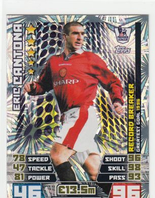 Match Attax 14 15 Eric Cantona Record Breaker Trading Cards.  All other Record Breaker cards, Limited Edition, Man of the Match, Club Badges and Tactic cards available