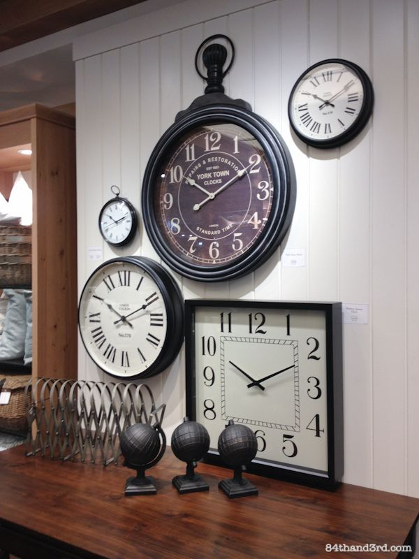 Pottery Barn - Sydney - quirky wall of clocks                                                                                                                                                                                 More