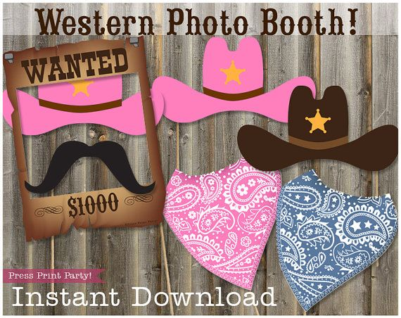 Wild West Photobooth Cowgirl Props Cowboy Props Western