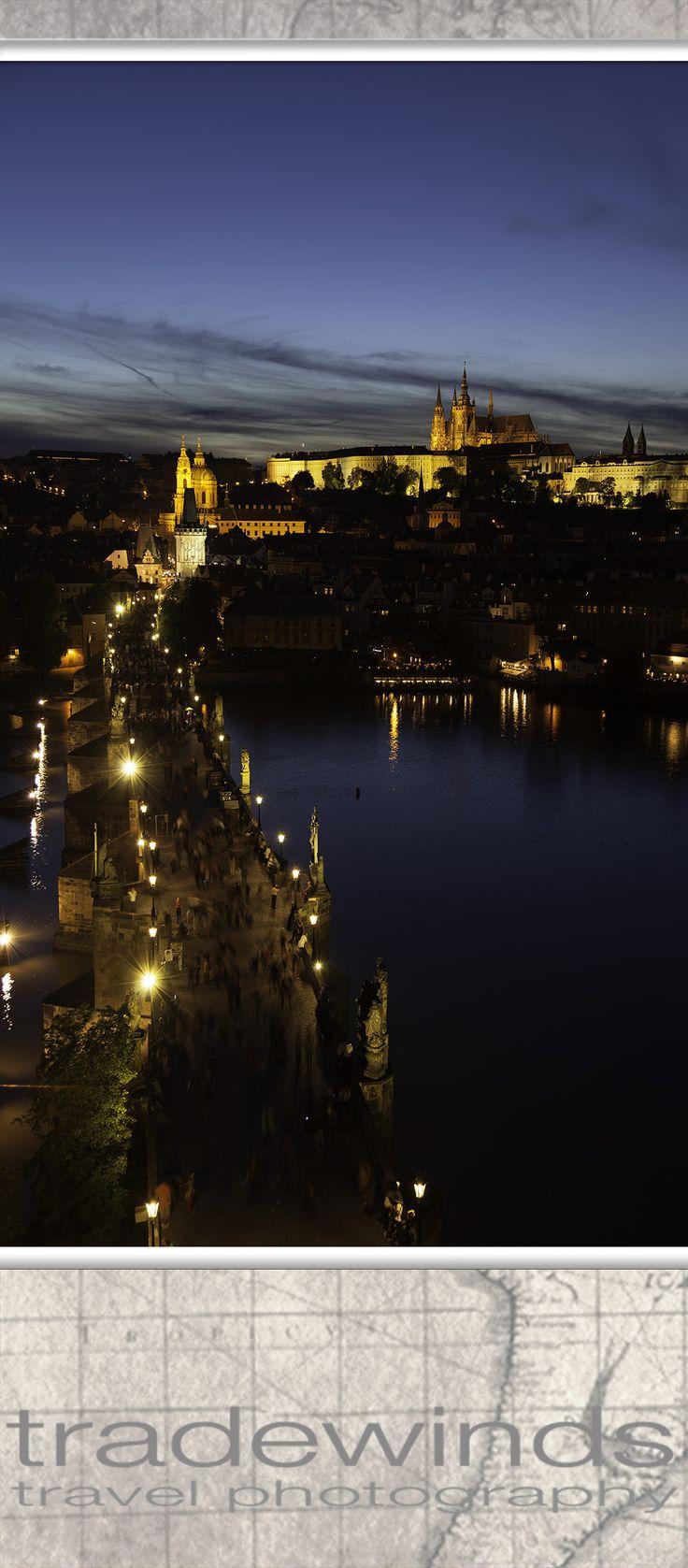 Charles Bridge (Karluv most) and Prague castle Vysehrad at night; Czech Republic