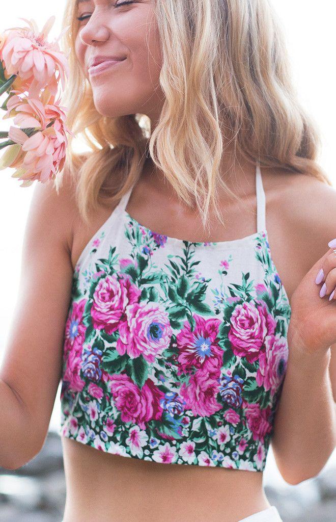 Floral Halter  Lolita Crop  Cropped Tops  Flower Halter  Flower CropCropped Halter Top Outfit