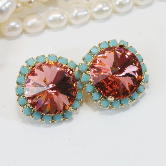 Coral Aqua Clip Earrings Turquoise Clip Earrings Peach Pink Gold Swarovski Crystal Coral Aqua Wedding 14mm Halo,Gold finish,Rose Peach,GE110