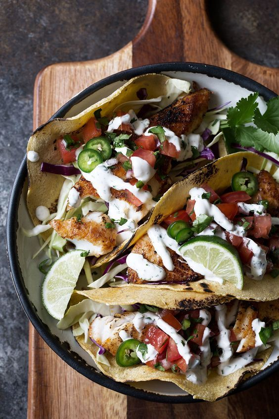 Fish Tacos With Cilantro Lime Sauce With Images Cilantro Lime Sauce Fish Recipes Healthy Seafood Recipes