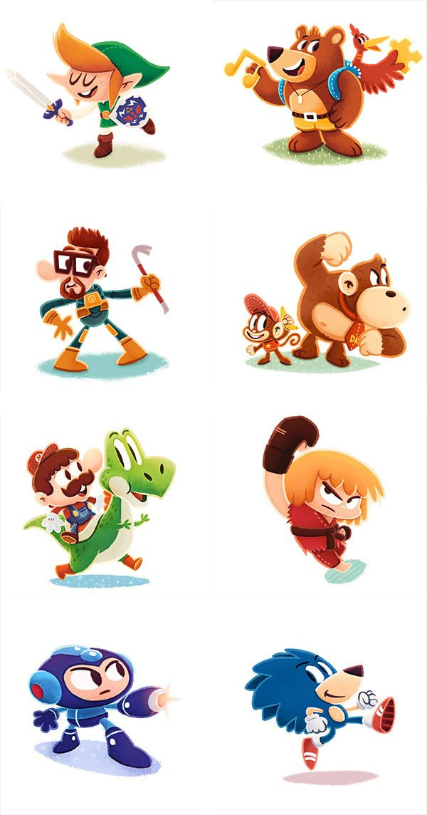 Cute Illustrations Of Classic Video Game Characters