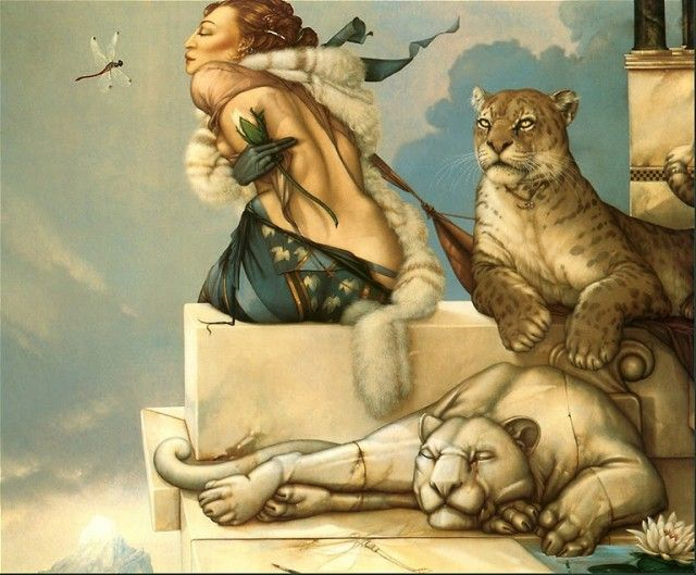 This is in my house! I used a teal matt with oak frame I love Michael Parkes