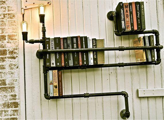 DIY steampunk-y pipe shelf / light combo!