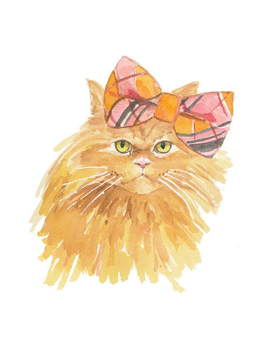 Cat Illustration Watercolor - Grumpy Cat, Original Painting, Cat in a Bow