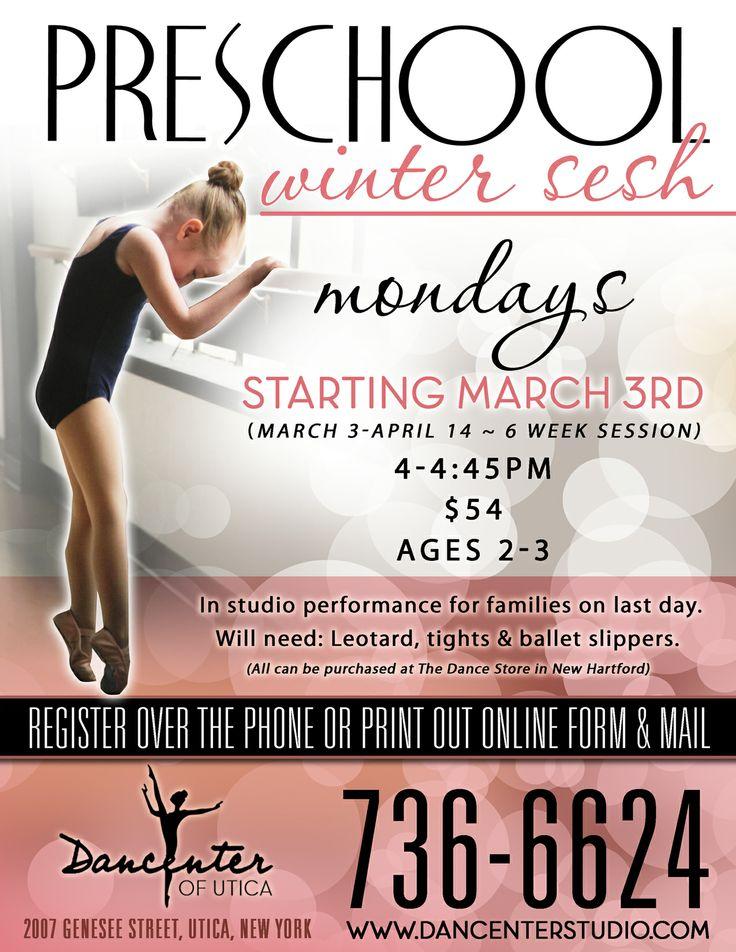 Flyer for dancenters preschool winter sesh dance class