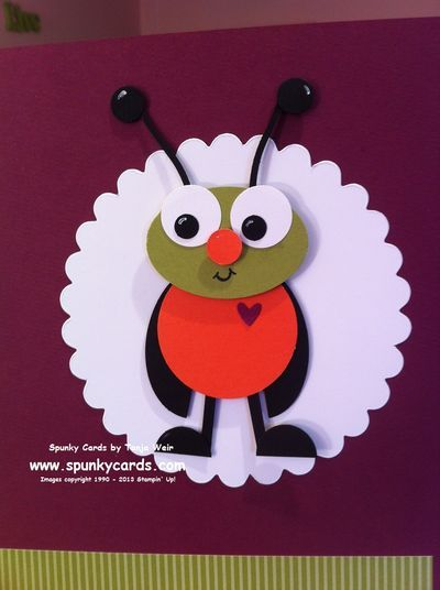 Punch art bug for spring scrapbook page by spunky cards