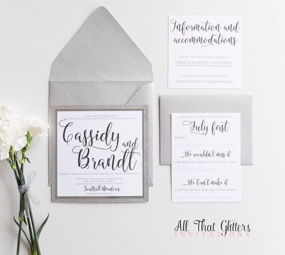 Silver Glitter Wedding Invitations by All That Glitters Invitations Silver, Gold, Glitter, Blush, Square wedding invitations, grey wedding invitations