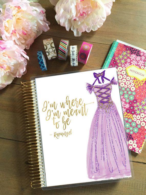 Disney Princesse planificateur couverture: Erin Condren & tailles planificateur heureux, planificateur de Rapunzel couverture, couverture de planificateur Disney Tangled