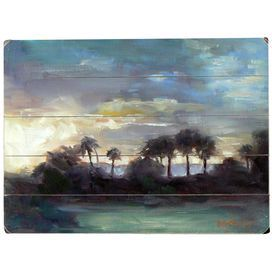 """Plank-style wood wall decor with a sunset scene.    Product: Wall artConstruction Material: WoodFeatures:  Ready to hangPerfect addition for any room Dimensions: 12"""" H x 16"""" WNote: Sawtooth hanger attached"""