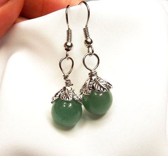 Green Aventurine Earrings by Mammybluebeads on Etsy