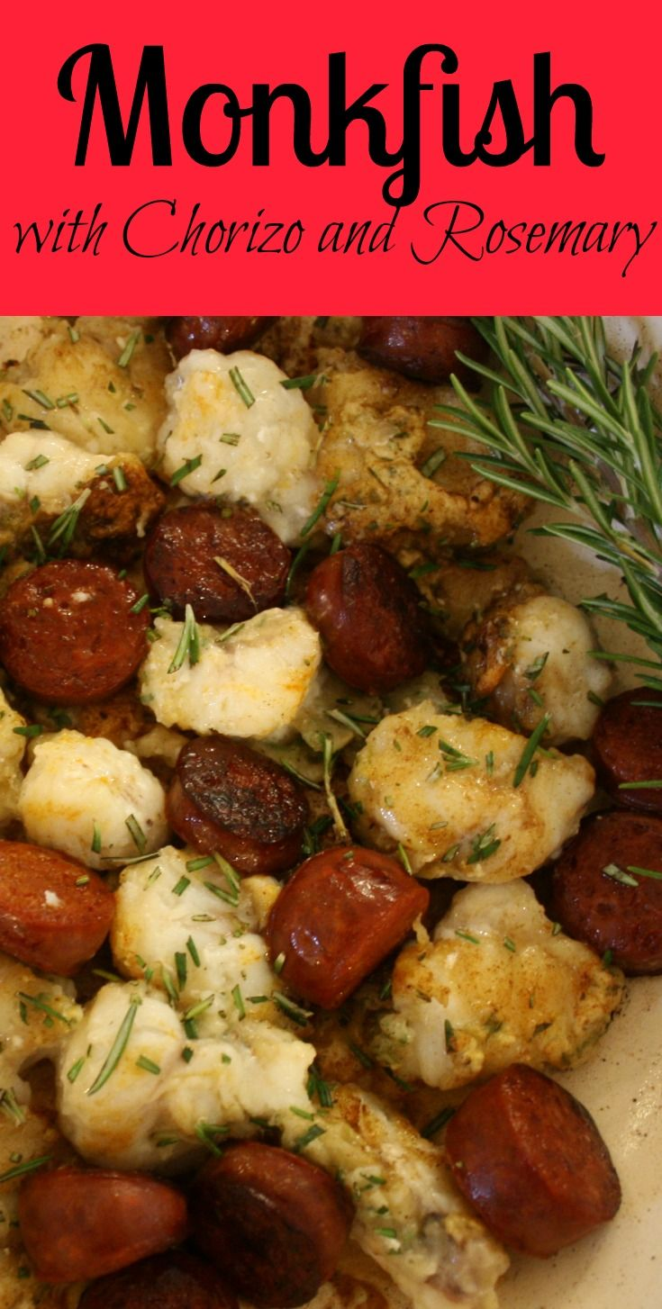 Fried Monkfish with Chorizo and Rosemary. Cooked in less than 10 minutes,this is a simple but delicious dish inspired by a meal in La Rochelle, France.