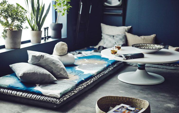 用你最喜爱的米布缝制垫套,彰显休息区的独特个性。