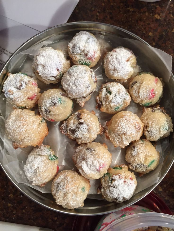 Holiday sugar balls with red and green chocolate chips