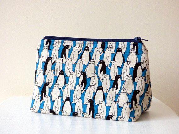 Penguin Cosmetic Bag Cute Penguin Print Makeup Bag on Blue