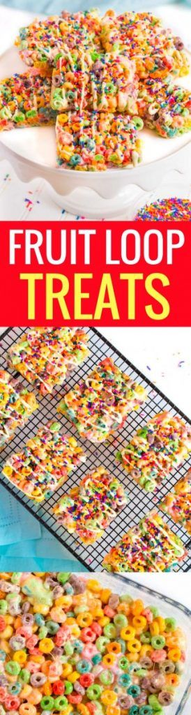 Rainbow FRUIT LOOP TREATS are a colorful spin on the traditional Rice Krispy Treats recipe. They're beautiful, delicious and super festive. Drizzle with melted white chocolate and confetti sprinkles. Yum! These special treats are perfect for breakfast, brunch, snacks, dessert and parties.