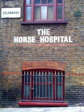 """The Horse Hospital from http://LondonTown.com  What? A Horse Hospital in the middle of London? Near Bloomsbury Square. Well...not anymore. Now it is a gallery for """"out there"""" art. Perfect setting for a scene in my next novel in the Trilogy of Remembrance. Rinaldo returns from the first novel in the trilogy, The Drawing Lesson.  http://maryemartintrilogies.com"""