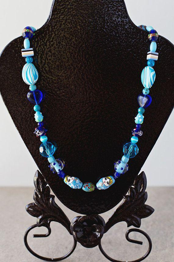 Multimedia Blue Necklace Shades of Blue by JeniandPatsBeadHive