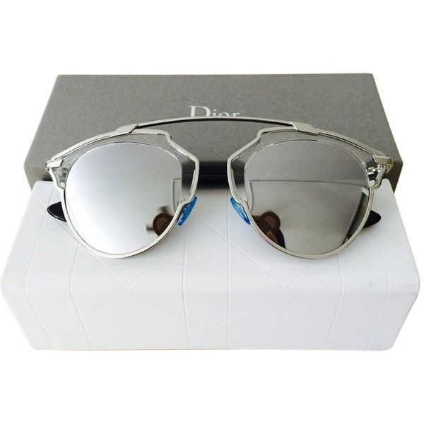 0663f950cba Pre-owned Dior  so Real  48mm Silver Mirrored Sunglasses... ( 545) ❤ liked  on Polyvore featuring accessories
