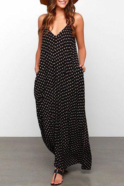 Bohemian Strappy Polka Dot Baggy Maxi Dress For Women