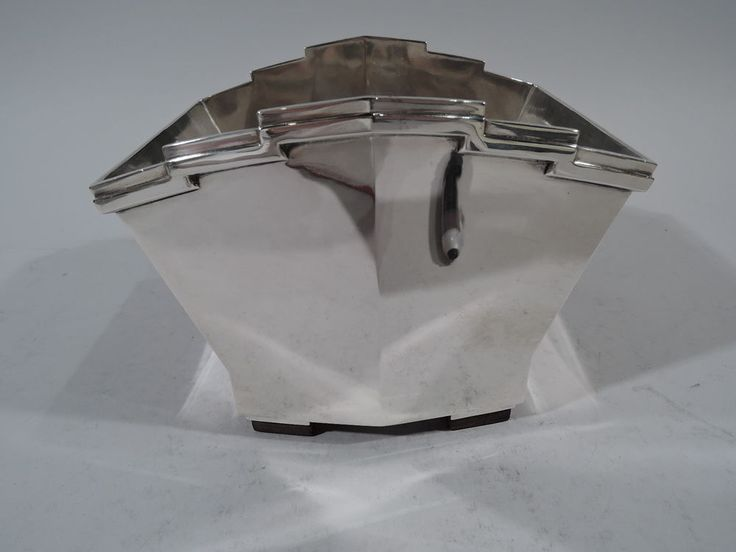 Art Deco Ice Bucket - Modern Skyscraper Bowl  French 950 Silver - Tetard Freres #ArtDeco #TetardFreres