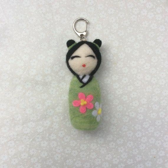 Hanako Needle felted kokeshi doll keyring. Green by SweetPeaDolls