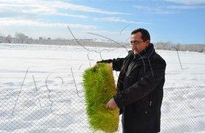 Agritom fodder machine under snow