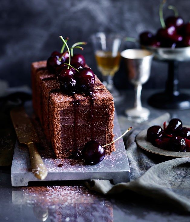 Chocolate-cherry marquise recipe :: Gourmet Traveller food photography, food styling, learn food photography