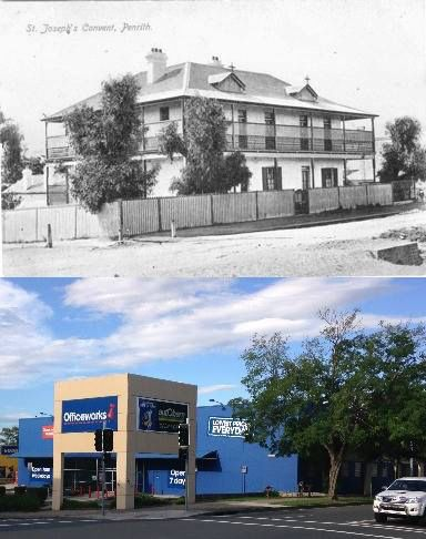 The corner of High and Evan Streets, Penrith in circa 1905 and 2015 - from St Joseph's Convent to Officeworks. [circa 1905 - Penrith City Council>2015 - Phil Harvey. By Phil Harvey]