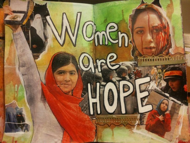 """""""Women are hope"""", by Laura Mascarin, gennaio 2015, collage, watercolor, spray."""