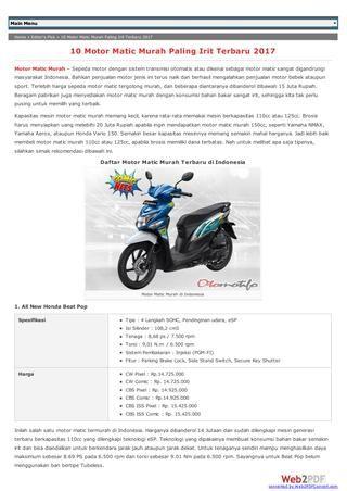 Motor Matic Murah Terbaik di Indonesia  Informasi mengenai motor matic murah di Indonesia yang kami ambil dari situs otomotifo.com. Semoga informasi yang kami sampaikan bisa menjadi bahan referensi bagi pecinta otomotif di seluruh Indonesia