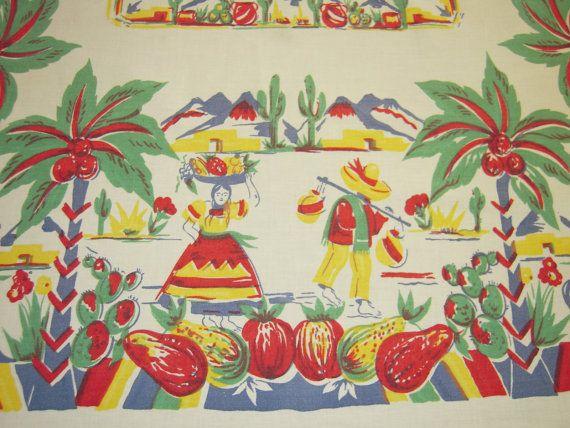 Vintage Mexican Tablecloth Colorful Village by unclebunkstrunk, $59.99