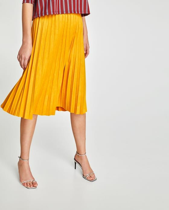 e0acbb9cae9a ZARA FAUX SUEDE PLEATED SKIRT | MINE in 2019 | Pleated skirt, Skirts ...