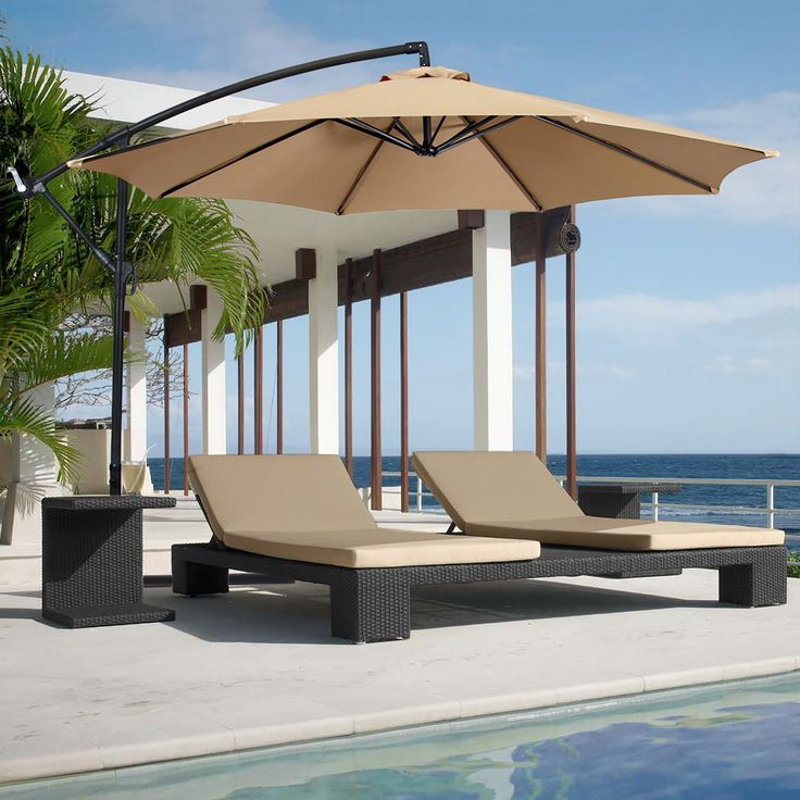 10ft Patio Offset Umbrella - Tan