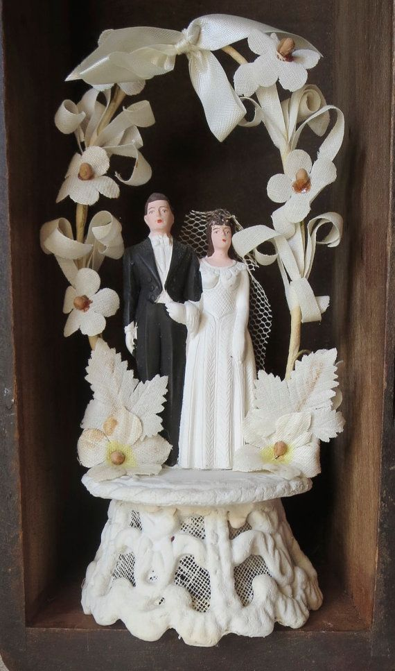 Vintage Wedding Cake Topper With Bride and by MiladyLindenSaysIDo