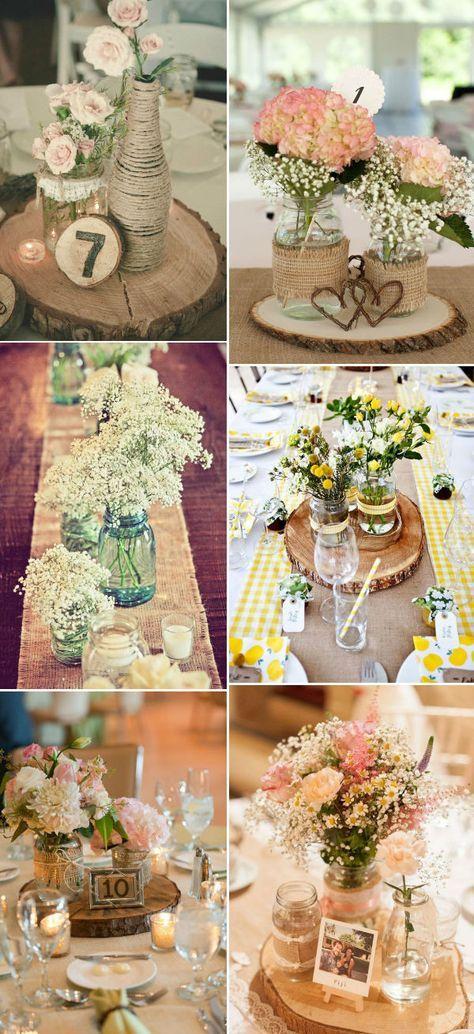 Decor com garrafas e troncos de madeira - reciclagem - casamento - country rustic burlap lace wedding centerpiece ideas