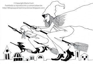 Dibujos para imprimir y colorear gratis para niños: Dibujo de brujas volando para imprimir y colorear!