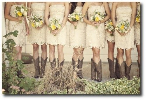 country wedding dress with cowgirl boots | Cowgirl Bridesmaides- ashleymaxwellphoto.com