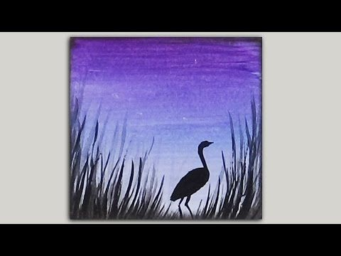 Sunset And Cattails Step By Step Painting On Canvas For