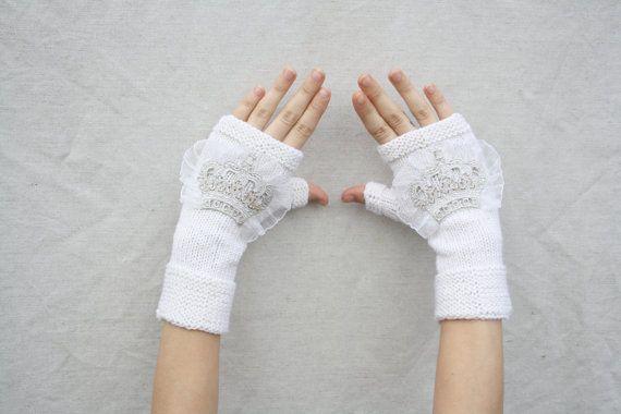 Gloves white fingerless winter gloves womens gloves warm fingerless warmest gloves warm gloves ornate gloves gift for her wedding gloves