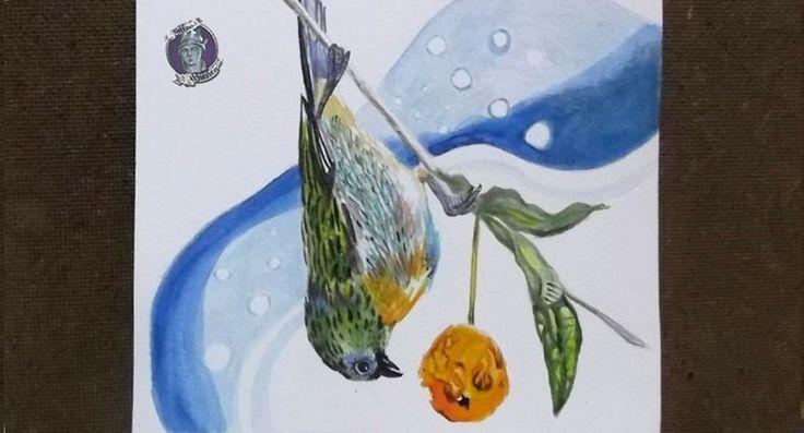 Pájaro Cabizbajo Comiendo,Acrílico sobre papel acuarela. Diseño/Idea para tattoo Disponible !!!, Ave, Naturaleza, Alimentación, Hábitat. Sebastian Marin. Tattoo Athenea.